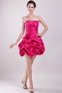 Hot Pink Strapless Zipper-up Fabulous Military Dresses with Pick-ups