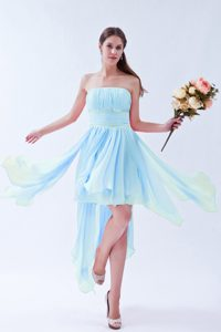 Strapless Asymmetrical Ruched and Beaded Military Dresses in Baby Blue