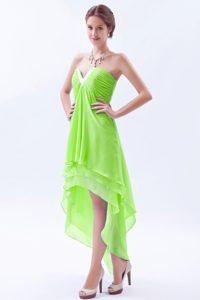 Spring Green High-low Princess V-neck 2012 Elegant Military Dress for Prom