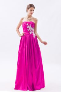 Fuchsia Ruched Appliqued Luxurious Zipper-up Long Military Dress for Party