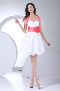 White and Pink Mini-length Fabulous Zipper-up Short Military Dress for Prom