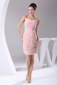 Discount Pink Square Ruched and Beaded Knee-length Military Dress for Fall
