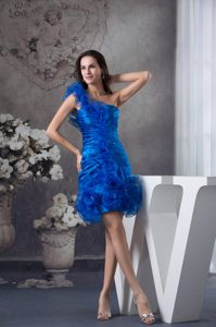 Blue One Shoulder Ruched Organza Beautiful Military Dress for Party