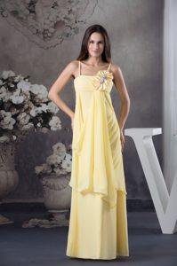 Classical Light Yellow Zipper-up Flower Military Dress with Spaghetti Straps