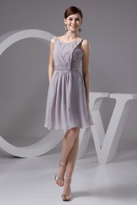 Grey Scoop Beaded Chiffon Discount Military Dresses for Prom with Ruches