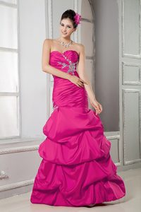 Sweetheart Long Fuchsia Ruched Beaded Military Dress with Pick-ups