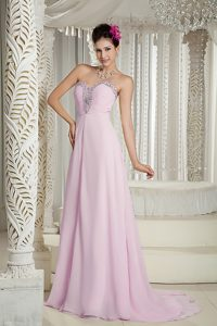 Baby Pink Sweetheart Brush Train Beaded Chiffon Military Dress with Ruching