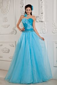 Aqua Blue Strapless Long Ruched Beaded Military Dress with Flowers