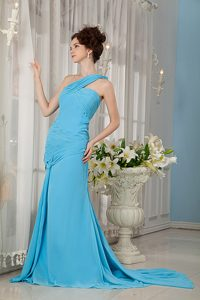 Aqua Blue Brush Train One Shoulder Ruched Chiffon Military Dress for Less