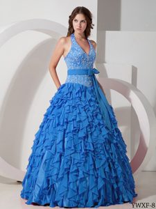 Halter Top Chiffon Quinceanera Dress with Embroidery Decorated and Ruffles