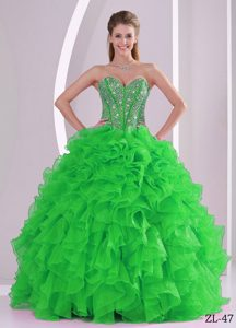 New Ruffled Ball Gown Sweetheart Beaded Quinceanera Gown Dress in Sweet 16