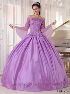 Lavender off the Shoulder and Organza Appliqued Quinceanera Dress
