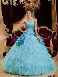 Blue Strapless and Organza Quinceanera Dress with Ruffled Layers