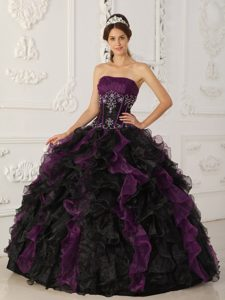Purple and Black and Organza Beaded Quinceanera Dress on Promotion