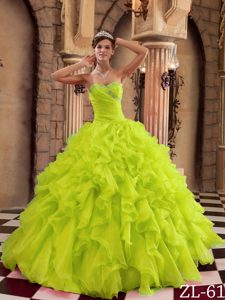 Yellow Green Sweetheart Organza Quinceanera Dress with Ruffles on Promotion