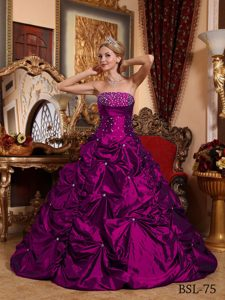 Pretty Strapless Beaded Quinceanera Dress with Pick-ups for Girls