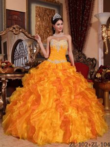 Sweetheart Organza Quinceanera Dress with Appliques and Beading for Cheap