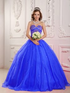 Attractive Sweetheart Satin and Organza Beaded Quinceanera Dress for 2014