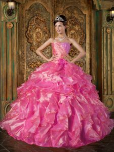 Beautiful Strapless Beaded and Ruffled Lace-up Dress for Quince in Hot Pink