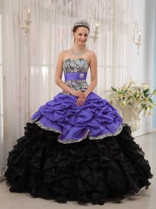 Purple and Black 2013 Exquisite Lace-up Zebra Sweet 16 Dress with Ruffles