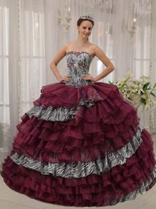 Special Burgundy Zebra and Organza Beaded Quinceaneras Dress for Spring