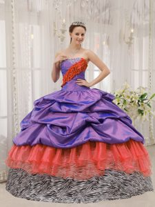 Discount Strapless Beaded Quinceanera Gown Dresses in Purple and Orange