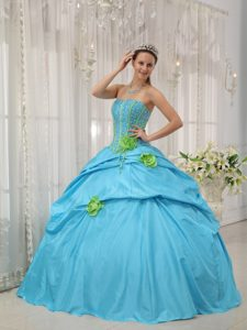 Fashionable Baby Blue Lace-up Long Quinceanera Gown with Flowers