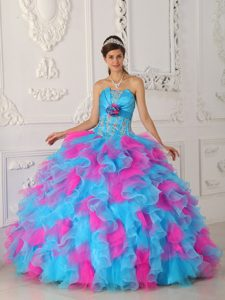 Attractive Strapless Appliqued Lace-up Quinceanera Dresses in Multi-color