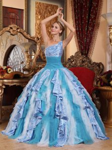 Multi-color One Shoulder Long Ruffled Beautiful Dresses for Quince