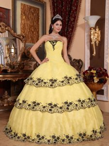 2013 Popular Appliqued Lace-up Organza Sweet 15 Dress in Yellow and Black