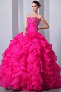 Beautiful Lace-up Ruffled and Beaded Organza Sweet 16 Dress in Coral Red