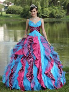 Discount Spaghetti Beaded Lace-up Quinceanera Dresses in Blue and Red
