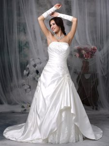Modest Princess Strapless Wedding Bridal Gown in with Appliques