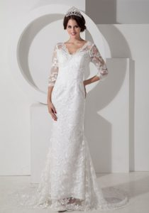Low Price Mermaid V-neck Bridal Gown and Lace with 1/2 Sleeves