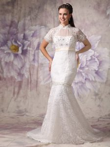 Cheap Mermaid High Neck Court Train Wedding Reception Dresses in Lace