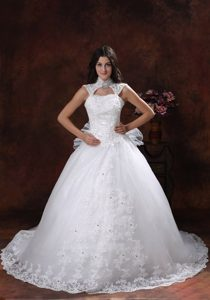Custom Made High-neck Dress for Bride with Chapel Train in Lace and Shirt