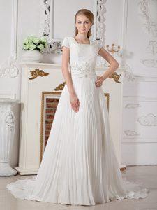 Romantic Beaded A-line Square Neck Wedding Reception Dress
