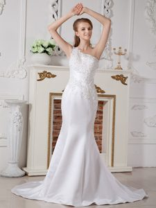 Informal Mermaid One Shoulder Wedding Gown and Lace on Sale