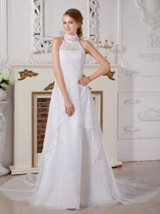 Lovely A-line High-neck Wedding Dress with Bowknot in Lace and Chiffon