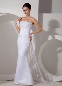 Pretty Mermaid Strapless Bridal Dress with Watteau Train and Appliques