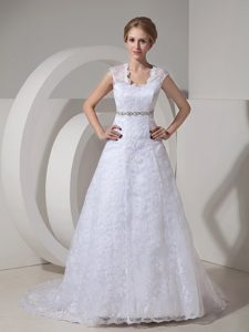 Modest 2013 A-line Straps Outdoor Wedding Dress with Beadings and Buttons