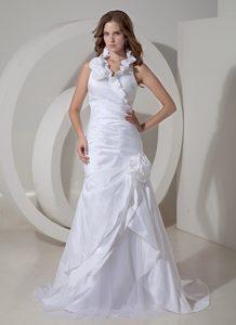 Halter-top Princess Bridal Dress and Ruffles in Taffeta