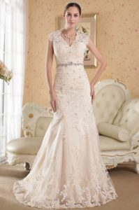Champagne Mermaid V-neck Wedding Party Dress with Cutout in Back for 2014
