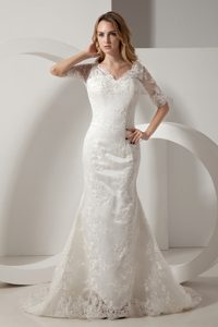 Elegant Mermaid V-neck Wedding Dress for Women with Half Sleeves for 2014