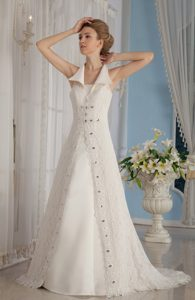 Cool Neckline Princess Outdoor Wedding Dress with Beadings and and Cutout