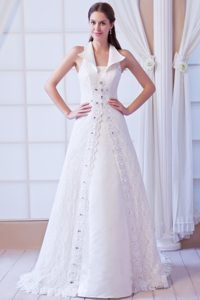 Affordable Princess Wedding Dress with Beads and Cool Neckline for Summer
