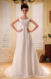 Straps A-line Garden Wedding Dress with Appliques and Sweep Train