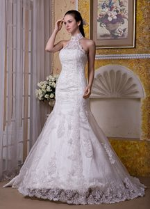 Custom Made Mermaid Prom Wedding Dress with High-neck in and Lace