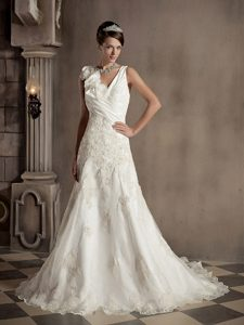A-line V-neck Outdoor Wedding Dress with Appliques and