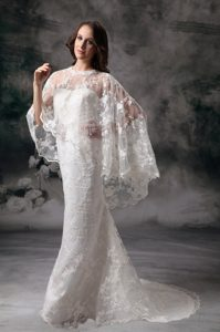 Simple Sweetheart Dress for Wedding with Brush Train in Lace and Satin